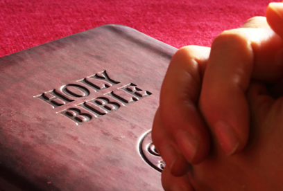 Praying Hands on Bible : Biblical Prayers for Healing